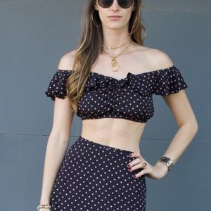 For Love & Lemons Navy polka dot crop top Small